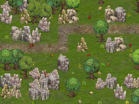 Early version of the grass terrain, details, oak trees, and rock formations